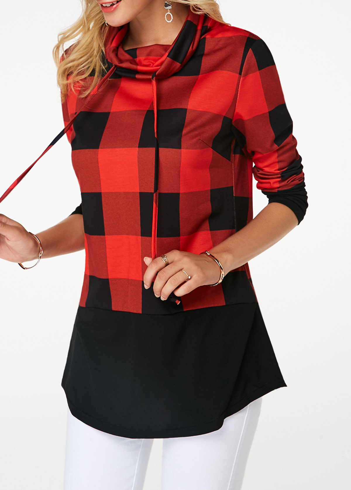 Women's Plaid Print Turtleneck Hoodie, Casual Long Sleeve Women's Plus Size Sweatshirt 6