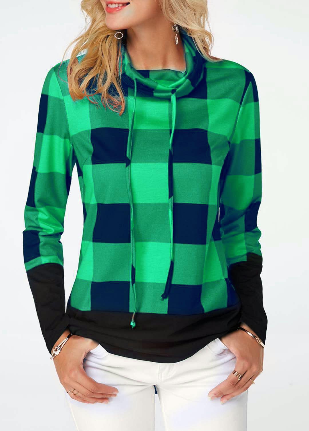 Women's Plaid Print Turtleneck Hoodie, Casual Long Sleeve Women's Plus Size Sweatshirt 13