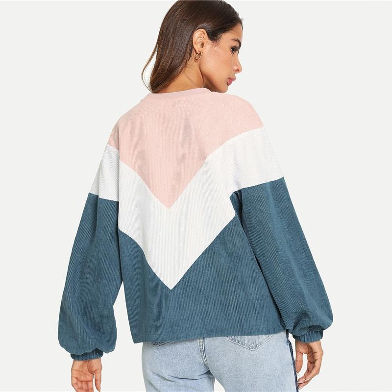 New Multi-color Cut and Sew Chevron Sweatshirt, Preppy Round Neck, Bishop Sleeve Pullover, Women's Sweatshirt 9