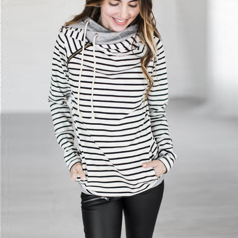 Women's Patchwork Striped Pullover Long Sleeve Hoodie, Tops With Pockets, Hooded Sweatshirt 42